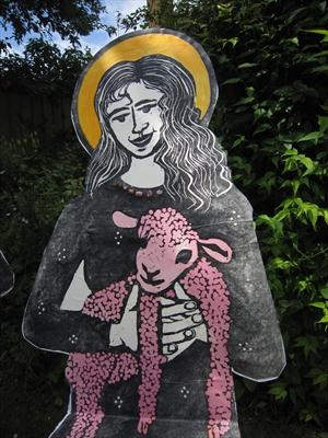 St Margaret with a pink lamb