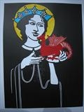 St Margaret iwth the Tiny Dragon by Sara Muzira, Artist Print