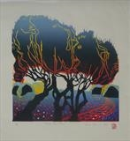 Three Yew Trees by Sara Muzira, Artist Print, Woodcut